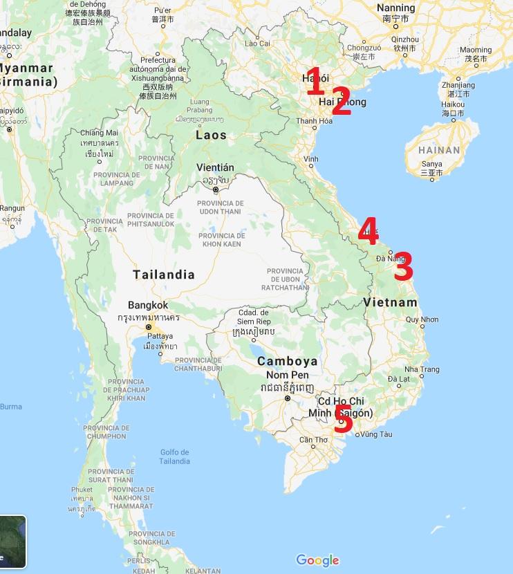 mapa viaje clasico vietnam